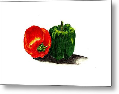 Red Pepper And Green Pepper Metal Print by Michael Vigliotti