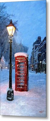 Metal Print featuring the painting Red Phone Box by James Shepherd
