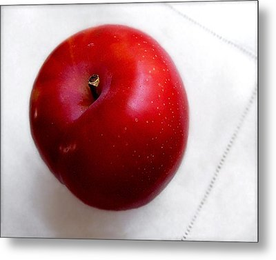 Red Plum On A White Cloth Metal Print