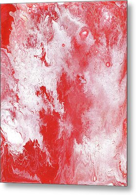 Red Plume, Abstract Acrylic Painting Metal Print