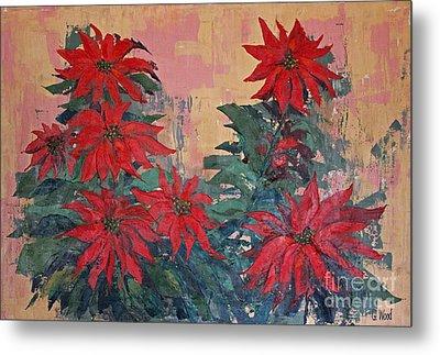 Red Poinsettias By George Wood Metal Print
