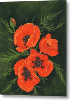 Metal Print featuring the painting Red Poppies by Anastasiya Malakhova