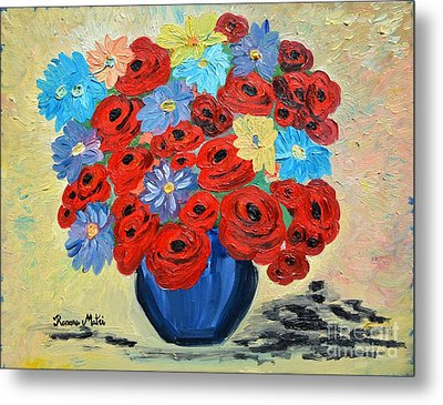 Red Poppies And All Kinds Of Daisies  Metal Print by Ramona Matei