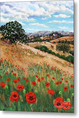 Red Poppies And Wild Rye Metal Print