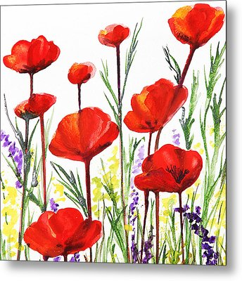 Metal Print featuring the painting Red Poppies Art By Irina Sztukowski by Irina Sztukowski