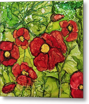 Red Poppies Metal Print by Suzanne Canner