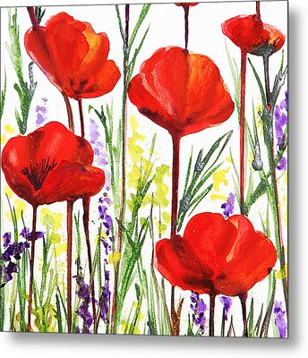 Metal Print featuring the painting Red Poppies Watercolor By Irina Sztukowski by Irina Sztukowski