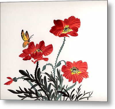 Metal Print featuring the painting Red Poppies by Yolanda Koh