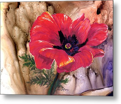Metal Print featuring the painting Red Poppy by Sherry Shipley