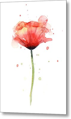 Red Poppy Watercolor Metal Print by Olga Shvartsur