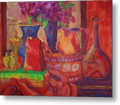 Red Purse On Green Book Metal Print