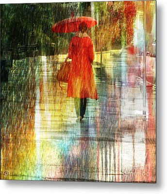 Red Rain Day Metal Print by LemonArt Photography