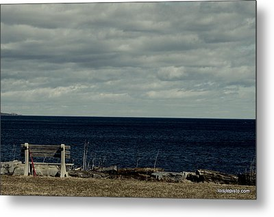 Red Ribbon At The Sea Metal Print by Lois Lepisto