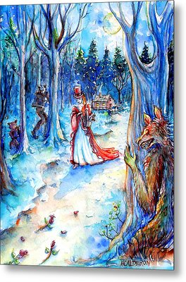 Metal Print featuring the painting Red Riding Hood And Werewolves by Heather Calderon