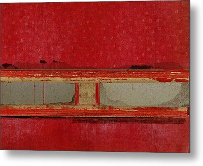 Red Riley Collage Metal Print by Carol Leigh