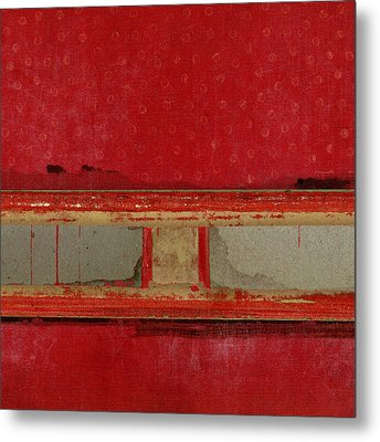 Red Riley Collage Square 2 Metal Print by Carol Leigh