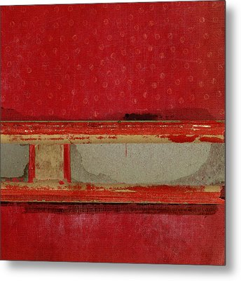Red Riley Collage Square 3 Metal Print by Carol Leigh