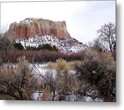 Red Rock Butte In Snow Metal Print