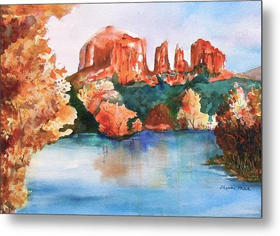 Red Rock Crossing Metal Print by Sharon Mick