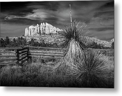 Metal Print featuring the photograph Red Rock Formation In Sedona Arizona In Black And White by Randall Nyhof