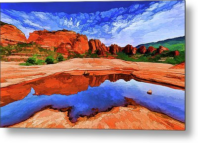 Red Rock Reflections Metal Print by ABeautifulSky Photography