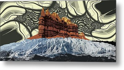 Red Rock White Ice Metal Print by Ron Bissett
