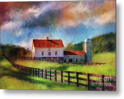 Metal Print featuring the digital art Red Roof Barn by Lois Bryan