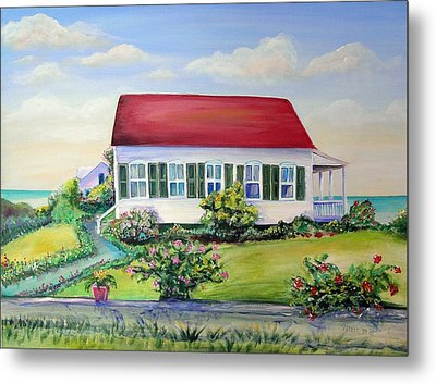 Metal Print featuring the painting Red Roof Inn by Patricia Piffath