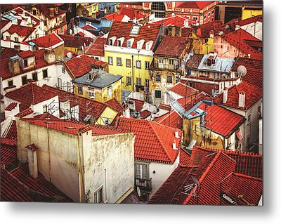 Red Rooftops Of Old Alfama Lisbon  Metal Print