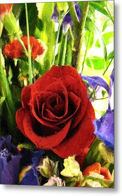Red Rose And Flowers Metal Print