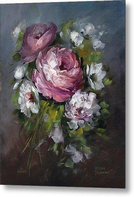 Red Rose And White Peony Metal Print by David Jansen