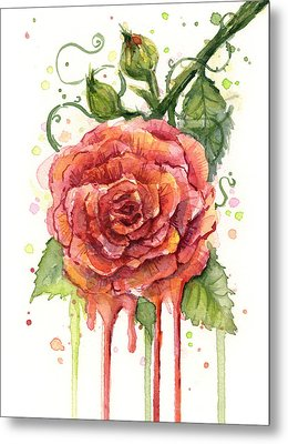 Red Rose Dripping Watercolor  Metal Print