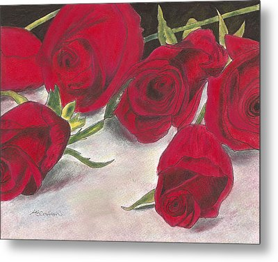 Metal Print featuring the drawing Red Rose Redux by Arlene Crafton