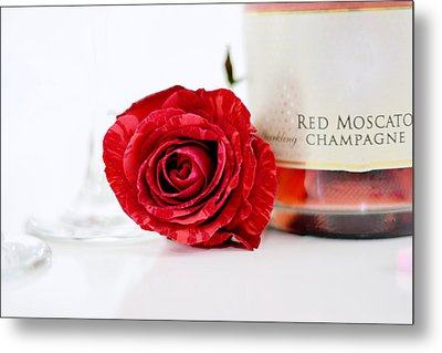 Red Rose With Champagne Metal Print