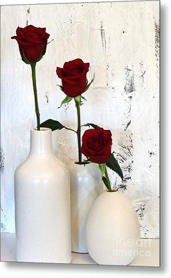 Red Roses On White Metal Print