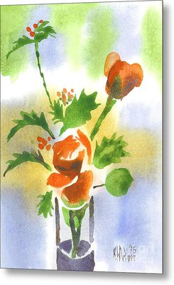 Red Roses With Holly Metal Print