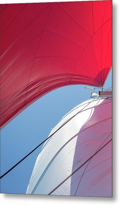 Metal Print featuring the photograph Red Sail On A Catamaran 4 by Clare Bambers