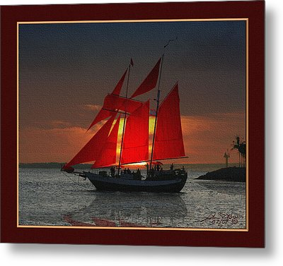 red sails at sunset in Key West Metal Print by John D Breen