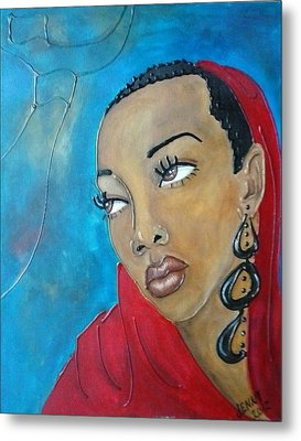 Red Scarf Metal Print by Jenny Pickens