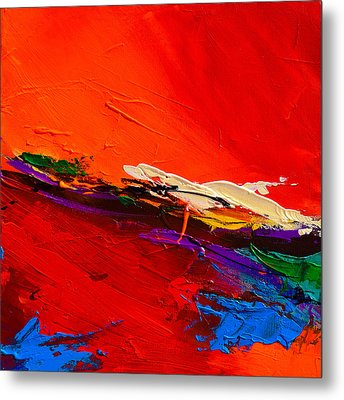 Metal Print featuring the painting Red Sensations by Elise Palmigiani