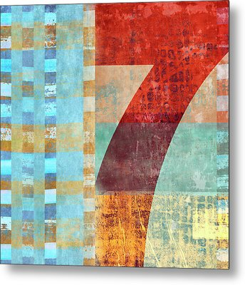 Red Seven And Stripes Mixed Media Metal Print by Carol Leigh
