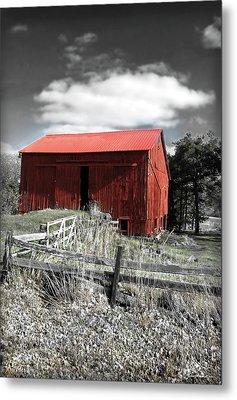 Red Shack Landscape Metal Print by Joan  Minchak
