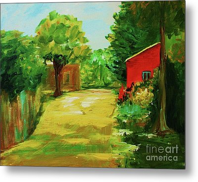Red Shed Metal Print by Julie Lueders