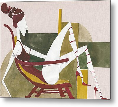 Metal Print featuring the painting Red Shoes by Maya Manolova
