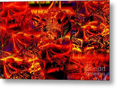 Red Shred Metal Print by Ron Bissett