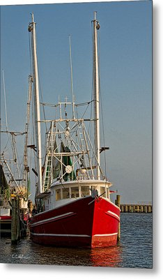 Red Shrimp Boat Metal Print by Christopher Holmes