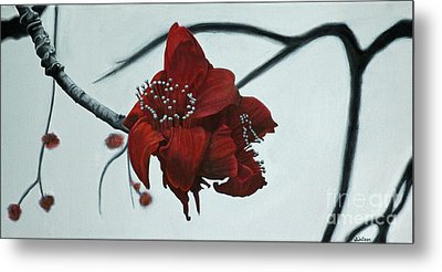Red Silk Cotton Flower Metal Print by Jennifer Watson