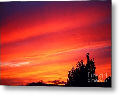 Metal Print featuring the photograph Red Skies At Night  by Nick Gustafson