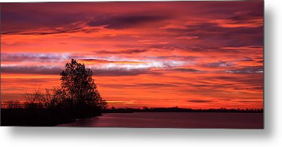 Red Sky At Morning Pano Metal Print by James Barber