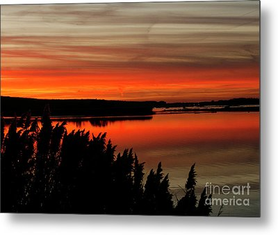 Red Sky On The Illinois River Metal Print
